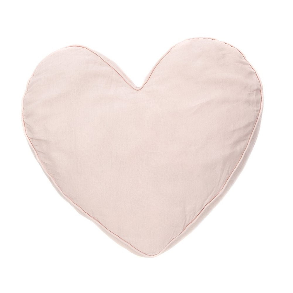 Pink Heart Cushion Linen