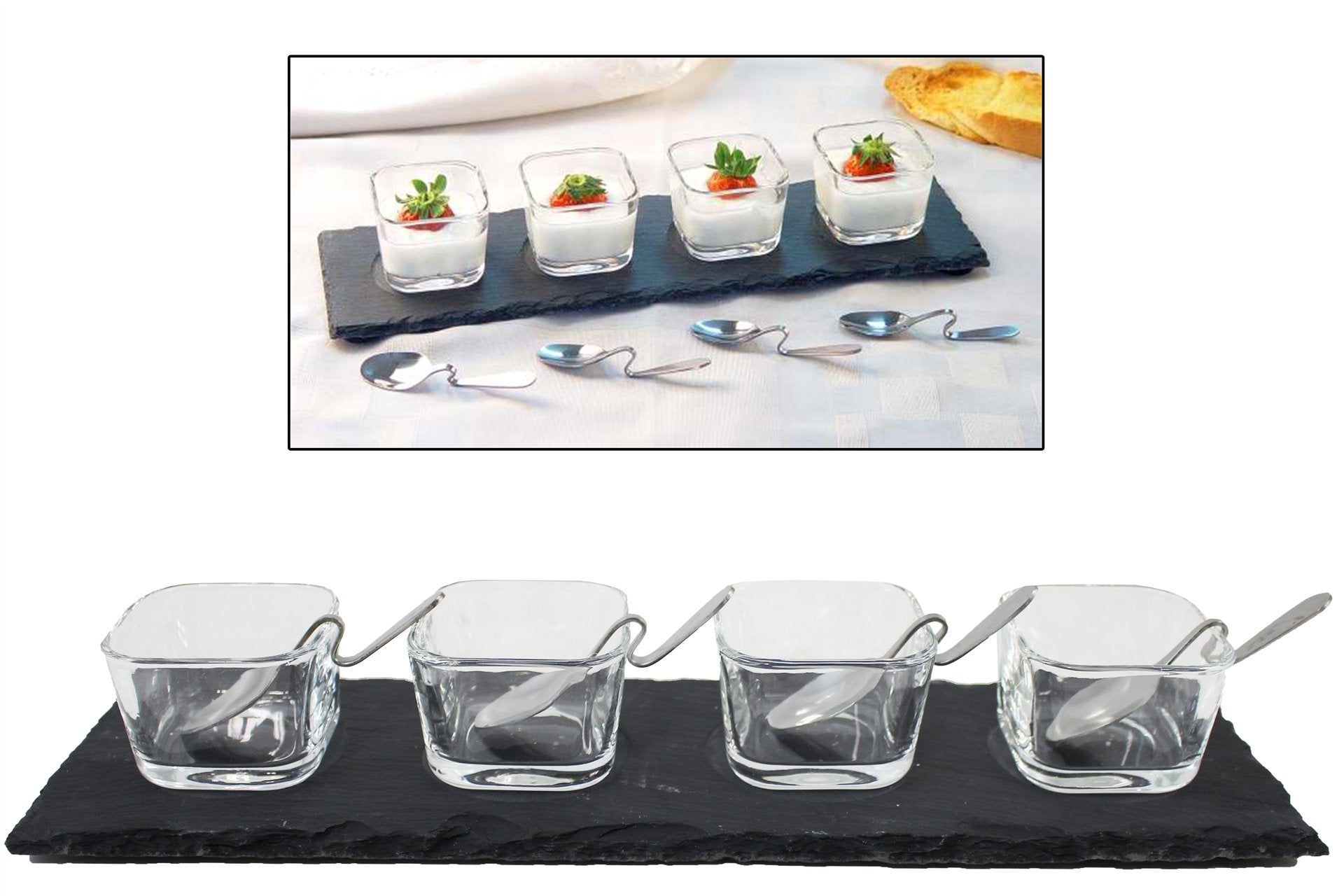 9 pc Dessert-Dip set on Slate