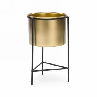 2pc Gold metal pot with stand (s)