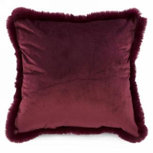 Velvet cushion with faux fur