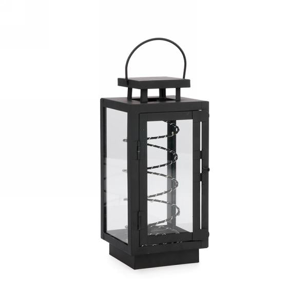 Black metal LED coil lantern