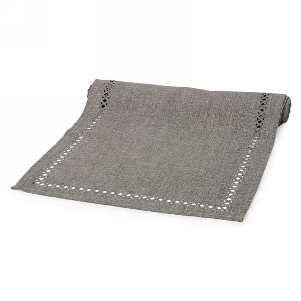 Grey table runner with cut-out motif