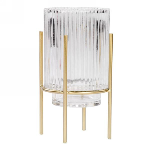 Clear glass candle holder on gold stand