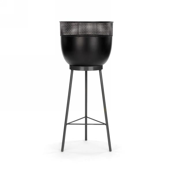 Black Metal Pot & Stand with detail