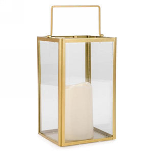 Gold edge metal lantern with LED candle