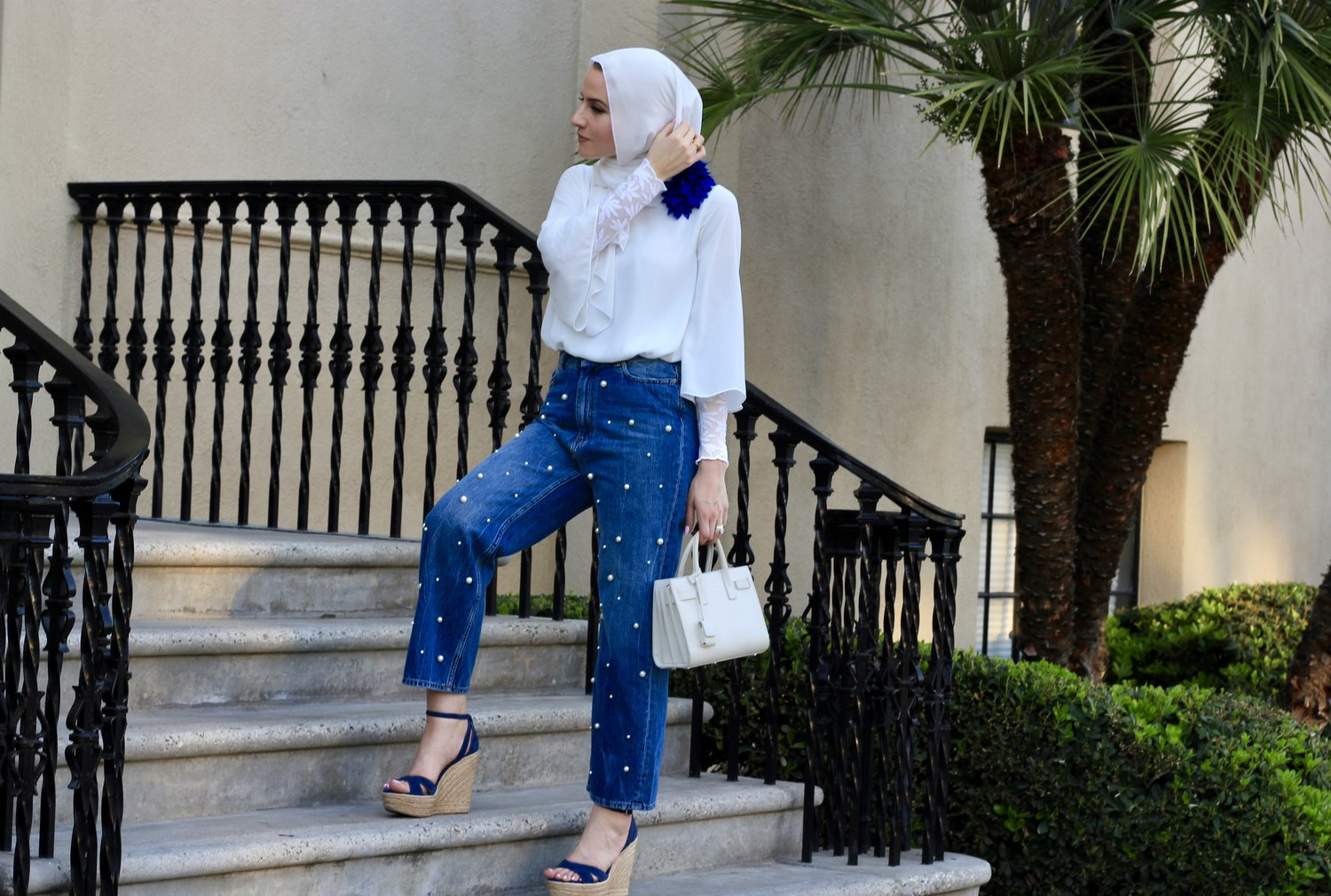 High Rise Jeans with Pearl Embellishments