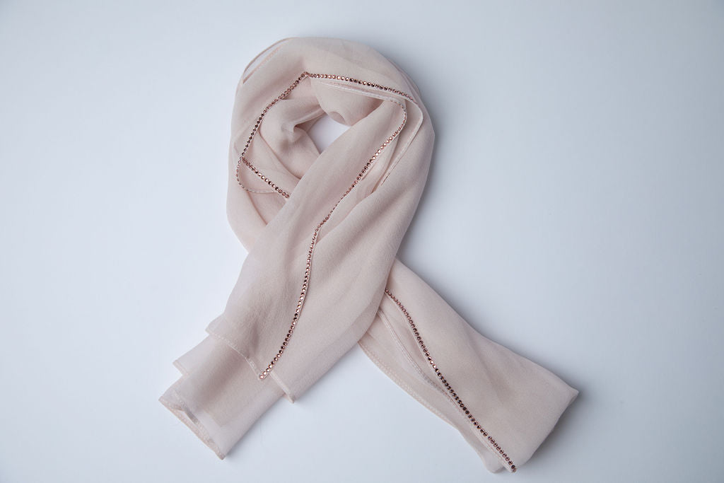 Blush Hijab with Blush Crystal Trim