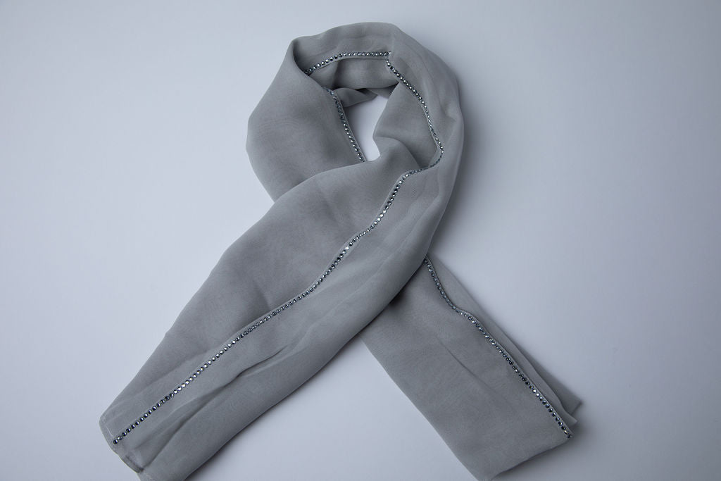 Grey Hijab with Blue Crystal Trim