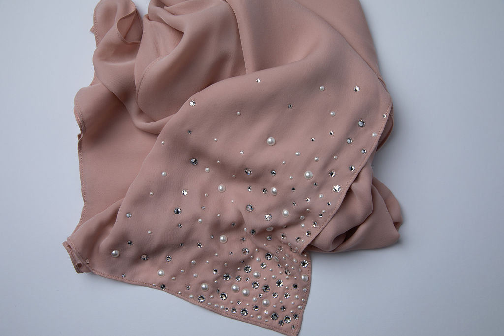 Blush Hijab with Crystal and Pearl Edges
