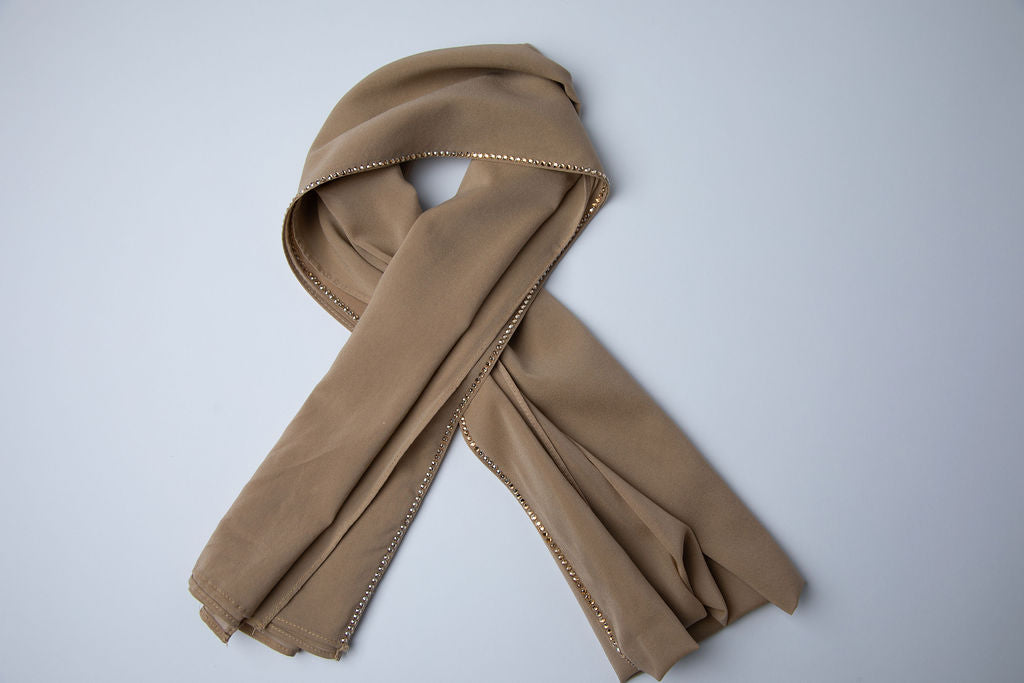 Taupe Hijab with Gold Crystal Trim