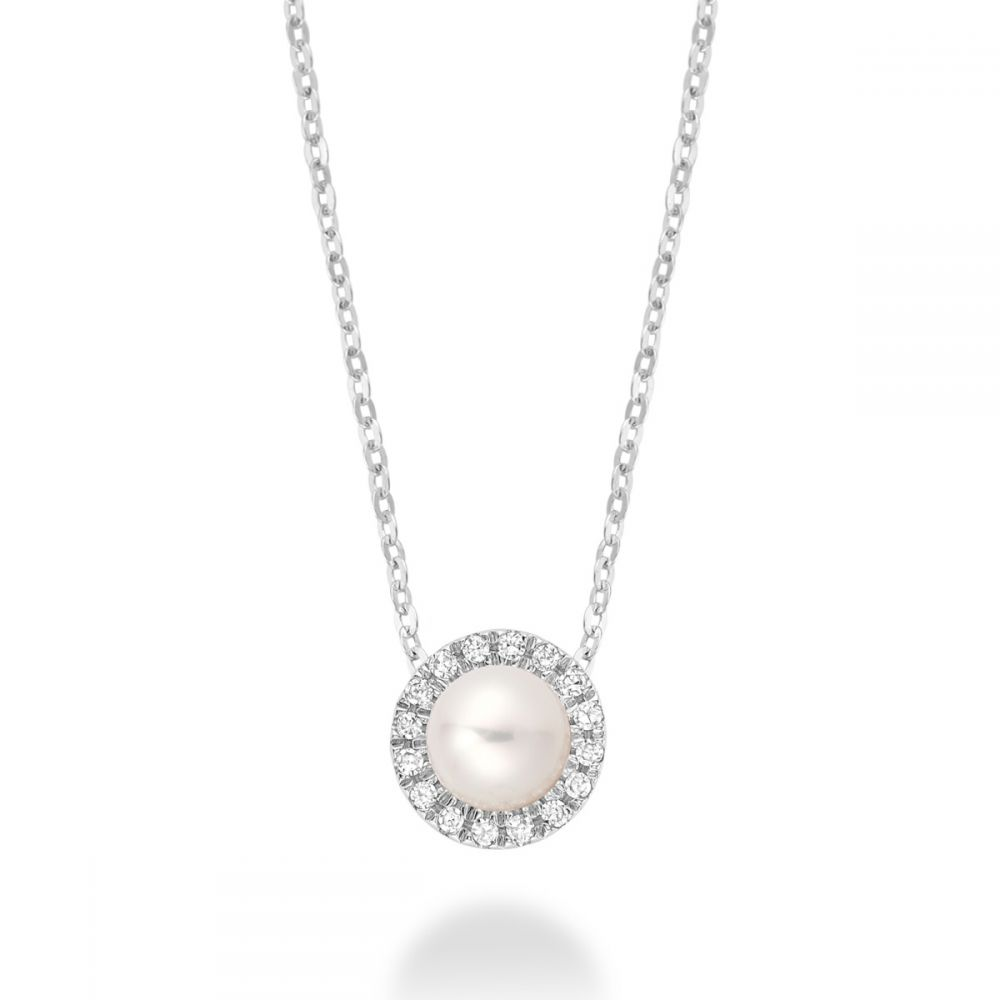 RnB Diamond Halo & Pearl Necklace