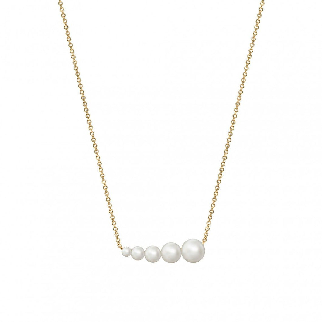 Birks Gold and Pearl Horizontal Bar Necklace