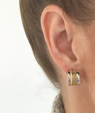 Load image into Gallery viewer, Birks Iconic Tri Gold Huggie Earrings