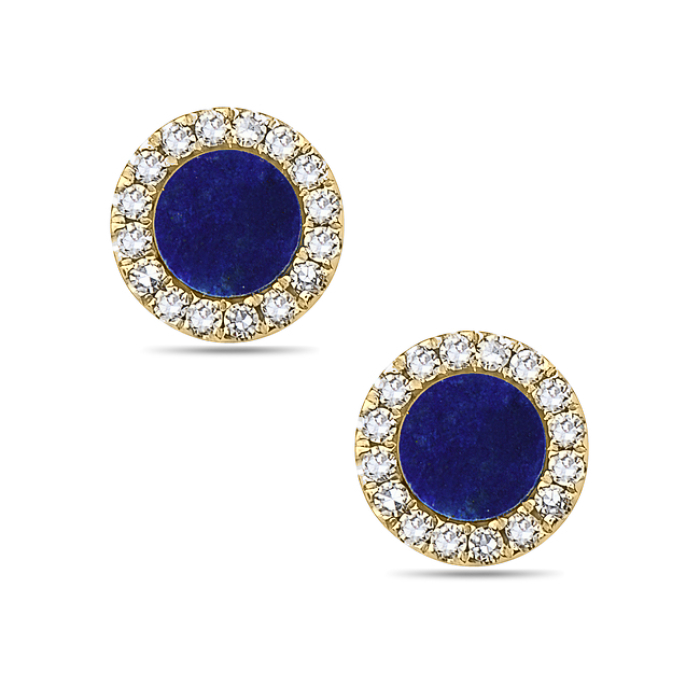 Bassali 14K Yellow Gold Blue Lapis Diamond Stud Earrings