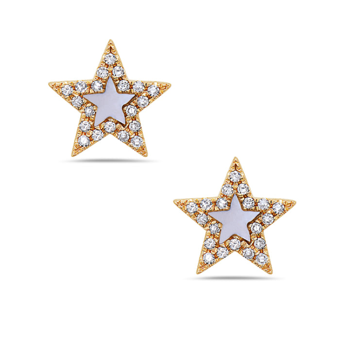 Bassali 14K Yellow Gold Mother of Pearl Star Diamond Stud Earrings