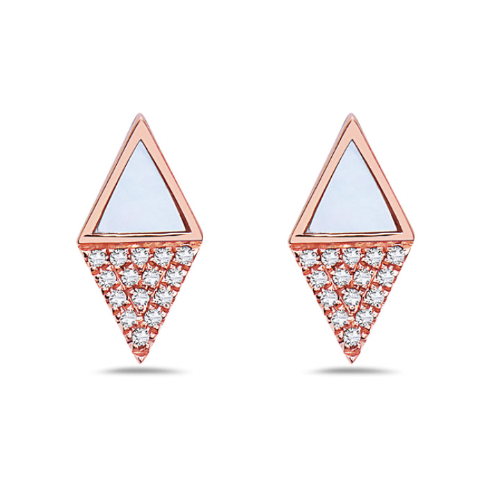 Bassali 14K Rose Gold Diamond Mother of Pearl Stud Earrings