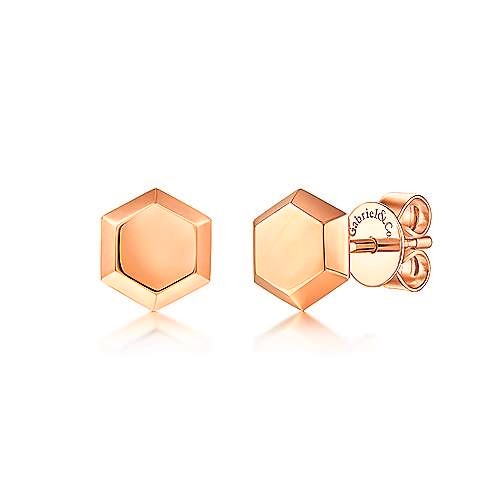 Gabriel 14K Gold Hexagon Stud Earrings