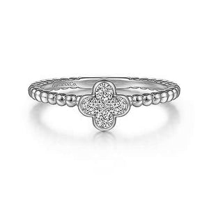 Gabriel 14K White Gold Diamond Cluster Clover and Bujukan Bead Ring