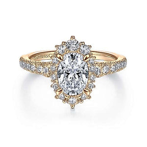 "Gabriel ""Eugenia"" 14K Oval Diamond Engagement Ring"
