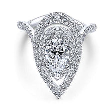 "Load image into Gallery viewer, Gabriel ""Trinitaria"" 14K White Gold Pear Shape Diamond Engagement Ring"