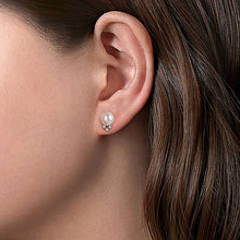 Load image into Gallery viewer, Gabriel 14K White Gold Pearl Post Earrings With Diamond Accents