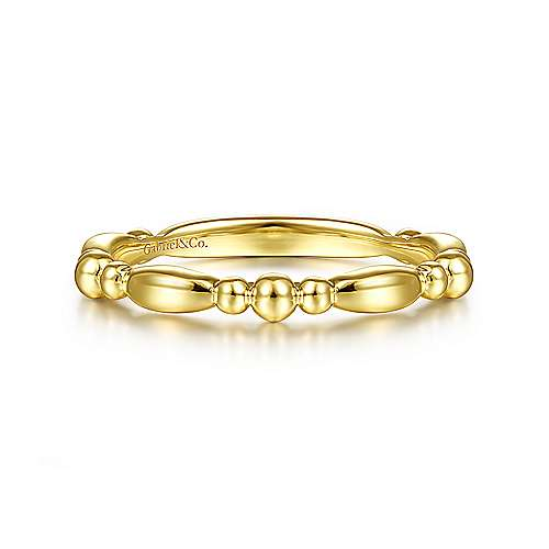 Gabriel 14K Yellow Gold Alternating Bar and Bujukan Bead Stackable Ring