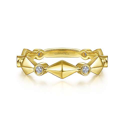 Gabriel 14K Yellow Gold Alternating Geometric and Diamond Station Ring