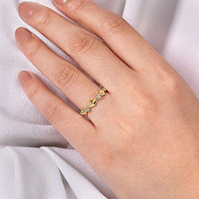 Load image into Gallery viewer, Gabriel 14K Yellow Gold Alternating Geometric and Diamond Station Ring