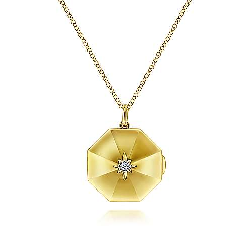 Gabriel 14K Yellow Gold Octagonal Locket Necklace with Diamond Star Center