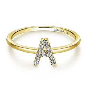 Gabriel 14K Yellow Gold Pavé Diamond Uppercase A Initial Ring
