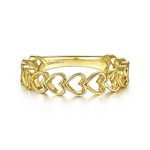 Gabriel 14K Yellow Gold Sideways Heart Stackable Ring