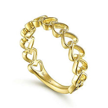 Load image into Gallery viewer, Gabriel 14K Yellow Gold Sideways Heart Stackable Ring