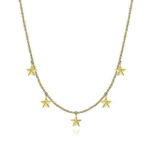 Gabriel 14K Yellow Gold Star Drop Station Necklace