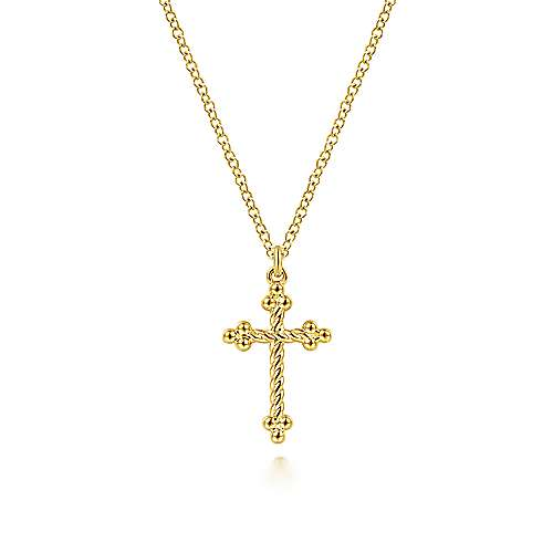 Gabriel 14K Yellow Gold Twisted Rope Cross Pendant Necklace