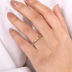 Gabriel 14K Yellow Gold X Pattern Stackable Ring