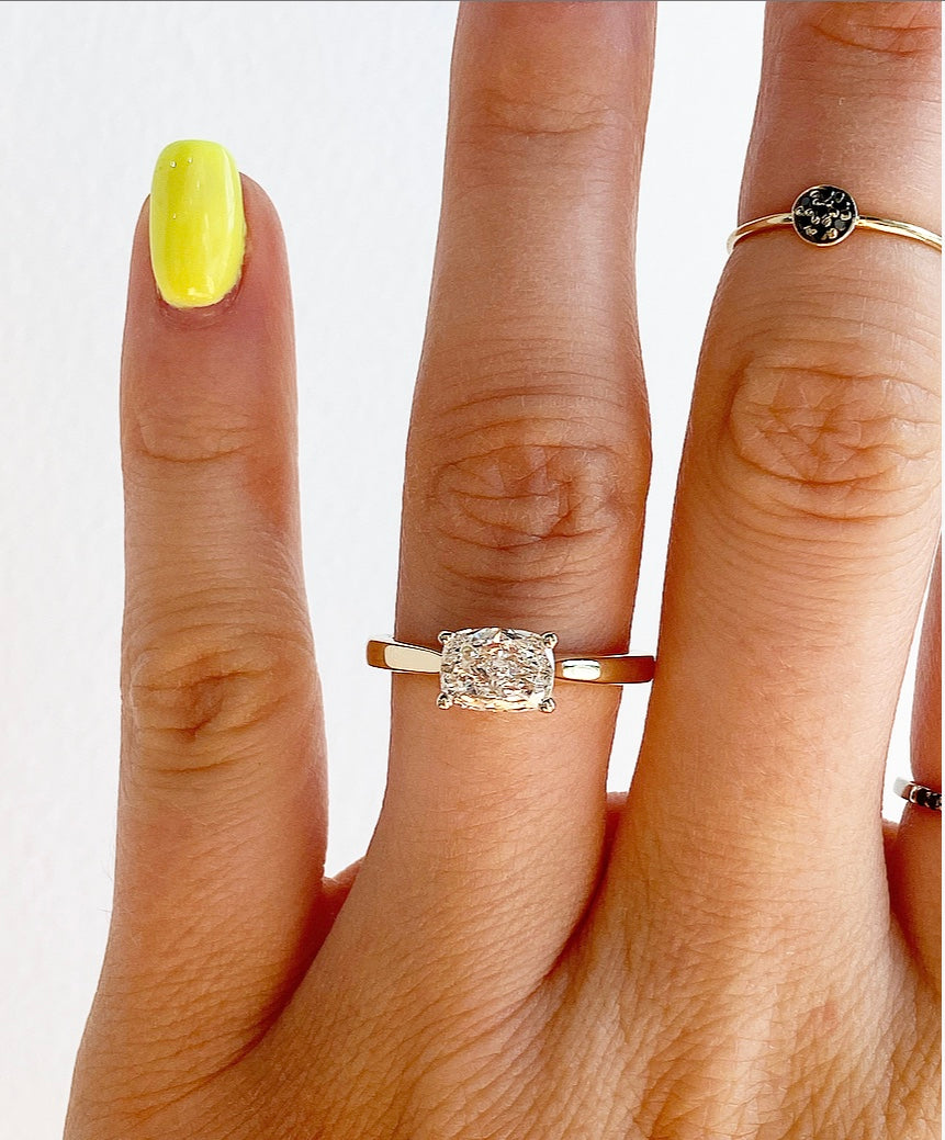 Roset East-West Elongated Cushion Engagement Ring