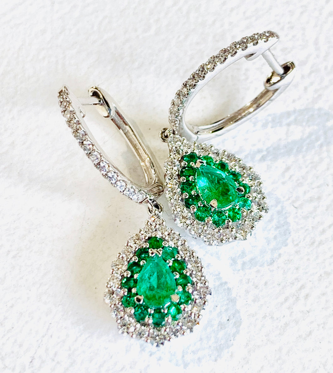 Gregg Ruth 18K Pear Shaped Emerald Earrings