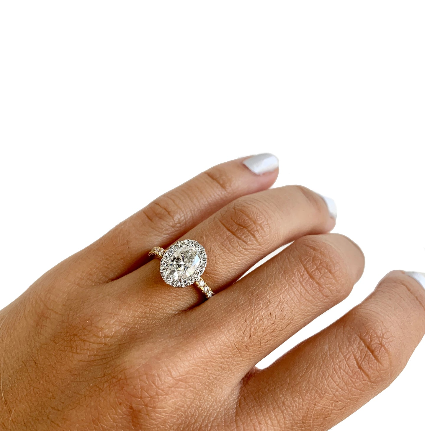 Natalie K. Halo & Oval Cut Diamond Engagement Ring