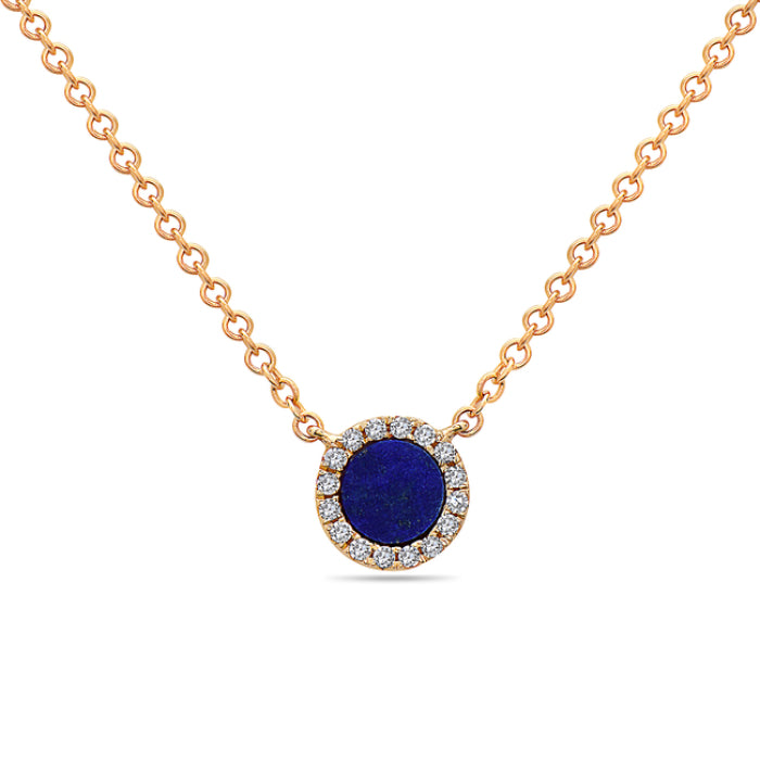 Bassali 14K Yellow Gold Blue Lapis Diamond Necklace