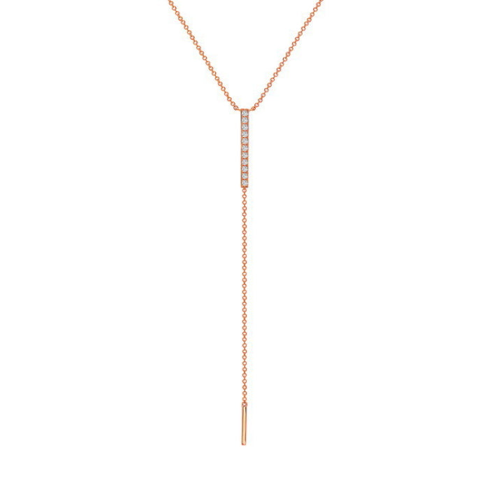 Bassali 14K Rose Gold Diamond Y Necklace
