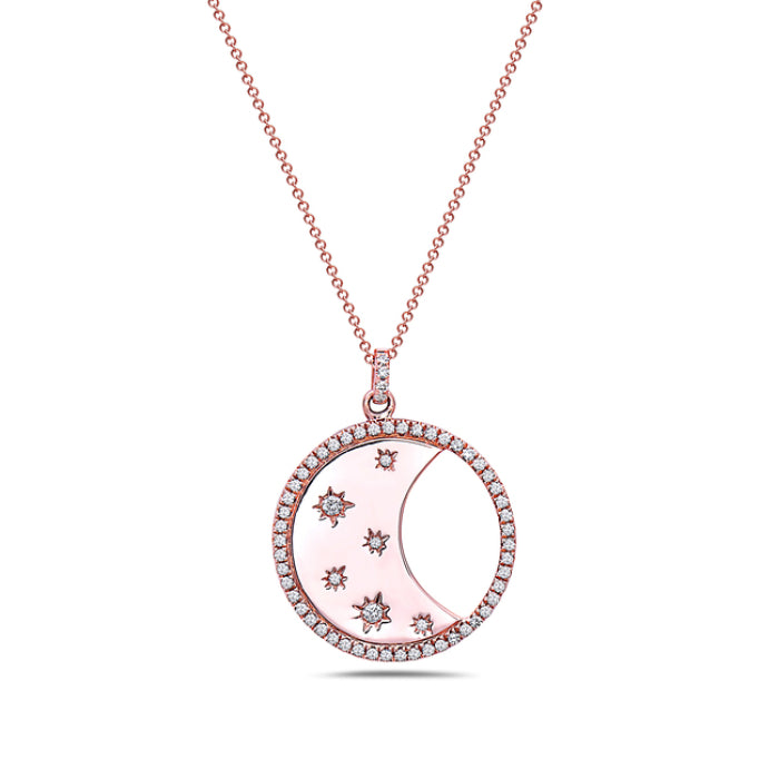 Bassali 14K Rose Gold Diamond Moon Necklace