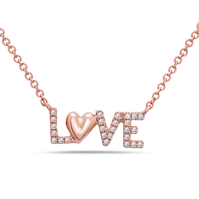 Bassali 14K Rose Gold LOVE Diamond Necklace