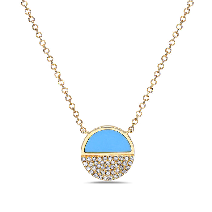 Bassali 14K Yellow Gold Turquoise and Diamond Necklace