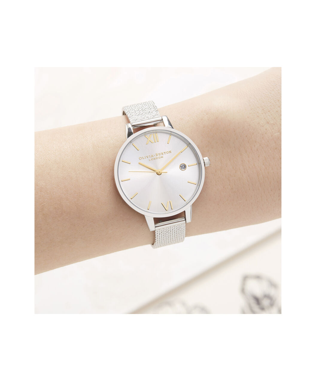 Olivia Burton Sunray Demi Dial Watch with Boucle Mesh