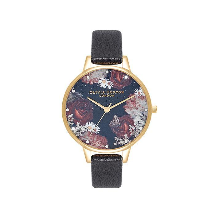 Olivia Burton OB16WG74 Winter Blooms Black & Floral & Stone Women's Watch