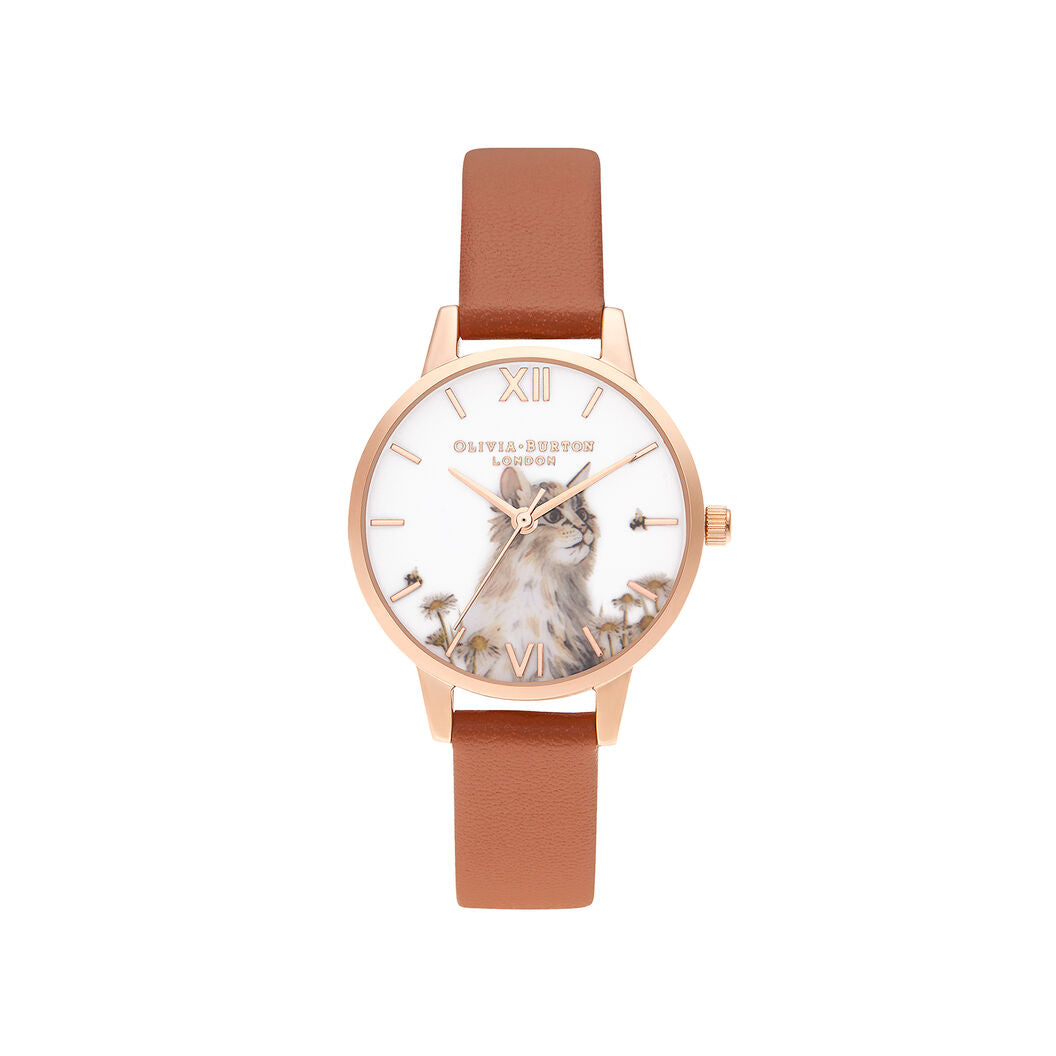 Olivia Burton Illustrated Animals Vegan Honey Tan & Rose Gold