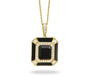 Doves Gold Diamond Pendant Necklace With Black Onyx