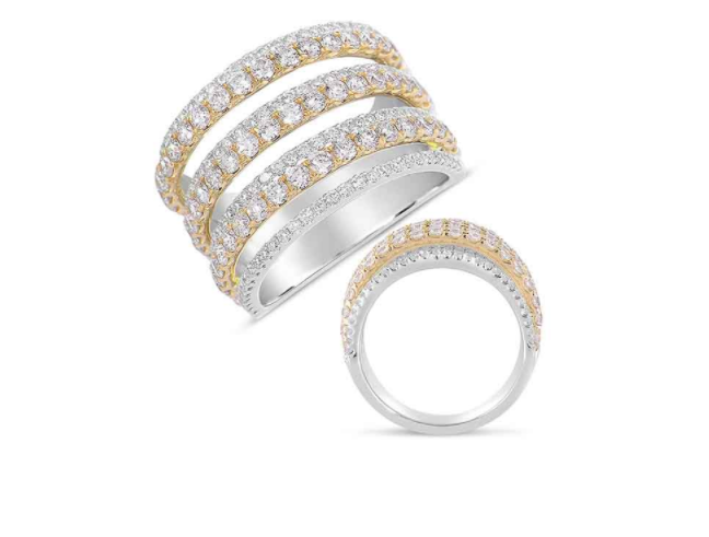 S. Kashi 14K White and Yellow Gold Pave Diamond Ring