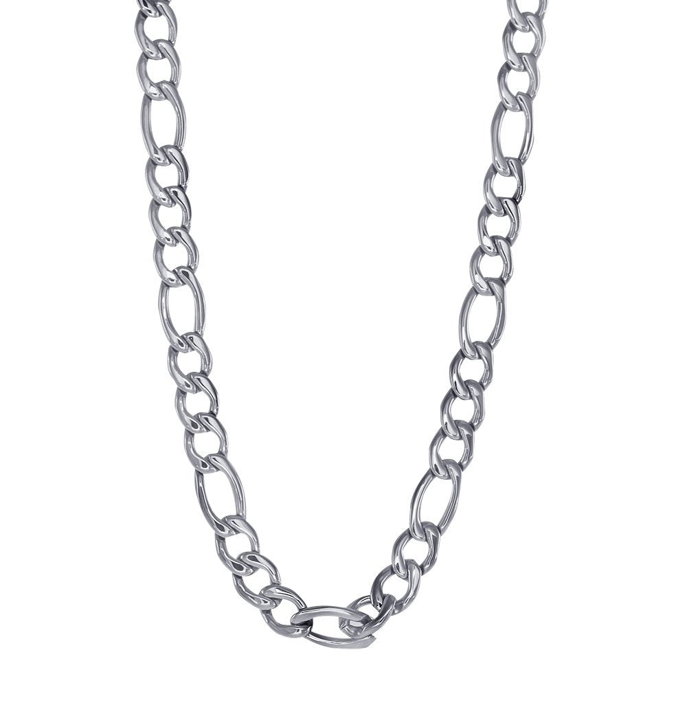 Italgem Steel Stainless Steel 6mm Figaro Polished Necklace 22