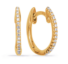 Load image into Gallery viewer, S. Kashi 14K Gold Huggie Diamond Earrings